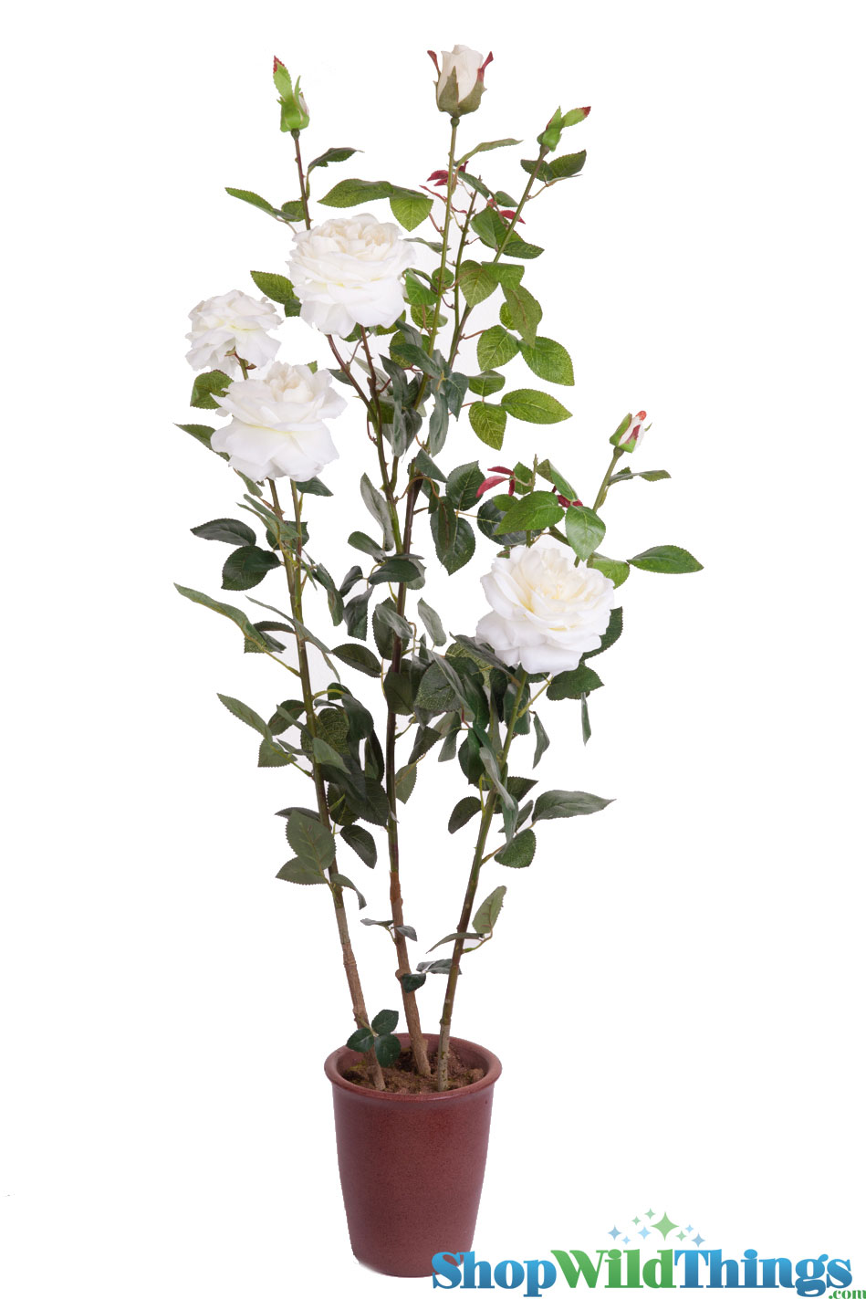 Articificial Rose Bush In Pot 49 Quot Tall White Roses Potted