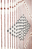"Wooden Bead Curtain - Genie - Blue Center - 35.5"" x 70"" - 27 Strands"