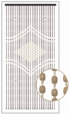 "Wooden Bead Curtain - Genie - Tan Center - 35.5"" x 69"" - 27 Strands"
