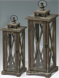 "Wooden Brown Candle Lanterns Set of 2 - 26.5"" & 19.5"" Tall - ""Baranca"""