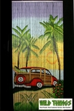 Woody Beach Scene Bamboo Beaded Curtain