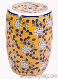 "Yellow Ceramic Garden Stool ""Cottage Elegance"""