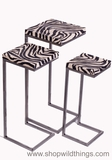 CLEARANCE Zebra Print Nesting Tables - Set of 3