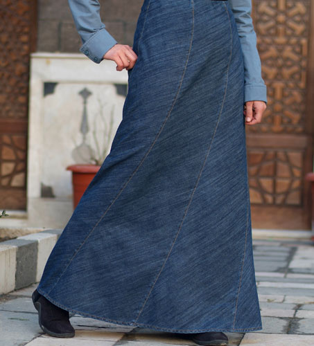 Gored Denim Skirt