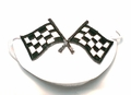 Large White Checkered Flags Eye Patch