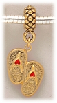 add-a-bead Antique gold charm holder with gold & red flip flop charm