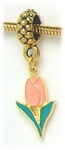 add-a-bead Antique gold charm holder with gold pink & green tulip charm