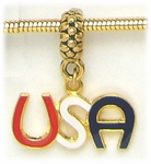 Add-a-bead Antique gold charm holder gold red white & blue USA