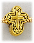 add-a-bead Antique gold cross large hole bead