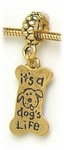 add-a-bead Antique gold dog bone charm
