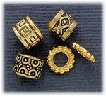 add a bead antique gold five bead set of spacer beads