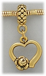 add-a-bead Antique gold heart with rose charm