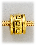 add-a-bead Antique gold large hole bead with Greek key design