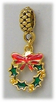 add-a-bead antique gold red green wreath charm