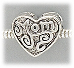 Add a bead antique silver MOM heart shape bead