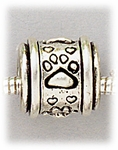 Add a bead antique silver paw print barrel bead