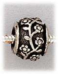 add-a-bead Antique silver rondelle with flower and vine design