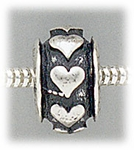 add-a-bead Antique silver rondelle with heart design
