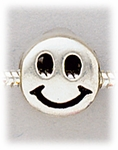 Add a bead antique silver smile face bead