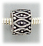 add a bead antique silver tube with marquise design