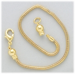 add-a-bead bracelet gold snake chain with screw off end and lobster claw 7.5 inch