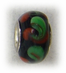 add-a-bead glass black with red green swirls