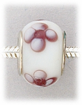 add-a-bead glass with white and light purple flower