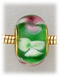 Add A Bead Gold green with pink and white flowers glass