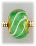Add A Bead Gold green with white stripes glass