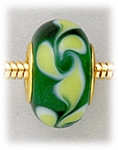 Add A Bead Gold green with yellow swirls glass