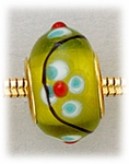 Add A Bead Gold lime green with blue and white flowers glass