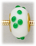 Add A Bead Gold white with green dots glass