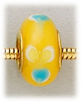Add A Bead Gold yellow with blue and white flowers glass