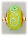 Add A Bead Gold yellow with green scroll glass