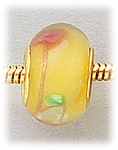 Add A Bead Gold yellow with pink and white flowers glass