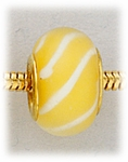 Add A Bead Gold yellow with white stripes glass
