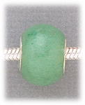 add-a-bead Green aventurine rondelle with silver grommet