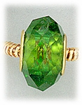 add-a-bead Green crystal with gold grommet