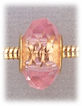 add-a-bead Pink aurora borealis crystal with gold grommet