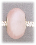add-a-bead Rose quartz rondelle with silver grommet