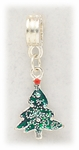 add-a-bead silver and green Christmas tree charm