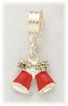add-a-bead silver and red bell charm
