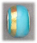 add-a-bead silver aqua glass with gold stripe