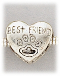 add-a-bead silver best friend heart paw