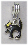 add-a-bead silver black cat bracelet charm