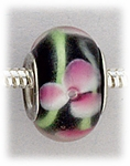 Add A Bead Silver black with pink and green flowers glass