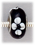 Add A Bead Silver black with white flowers glass