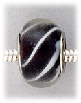 Add A Bead Silver black with white stripes glass