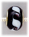 Add A Bead Silver black with white swirls glass