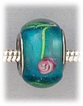 Add A Bead Silver blue with pink flowers glass